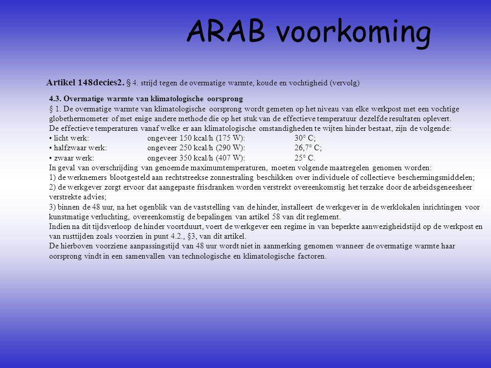 Artikel 148decies2. § 4. strijd tegen de overmatige warmte, koude en vochtigheid (vervolg) ARAB voorkoming 4.3. Overmatige warmte van klimatologische