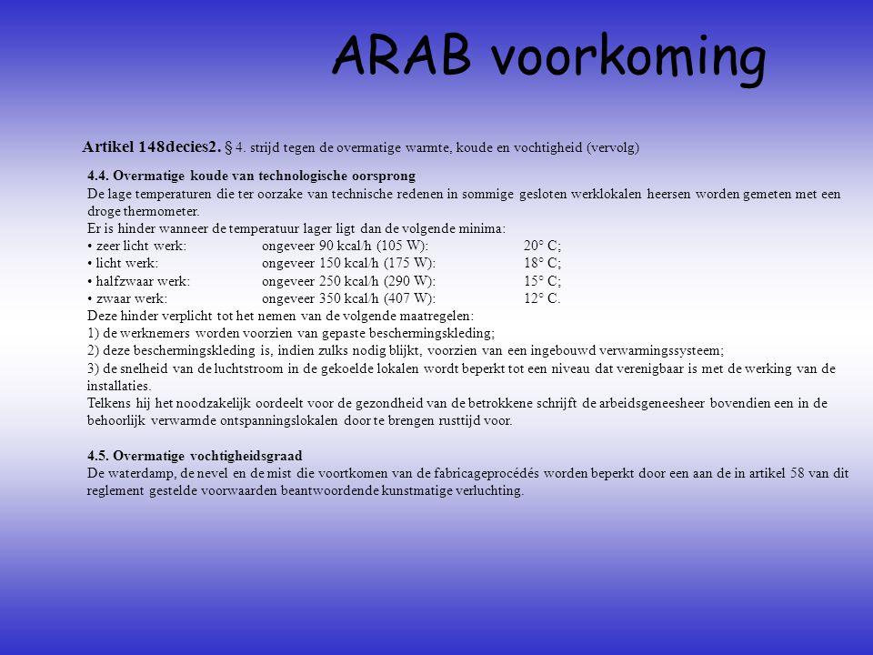 Artikel 148decies2. § 4. strijd tegen de overmatige warmte, koude en vochtigheid (vervolg) ARAB voorkoming 4.4. Overmatige koude van technologische oo