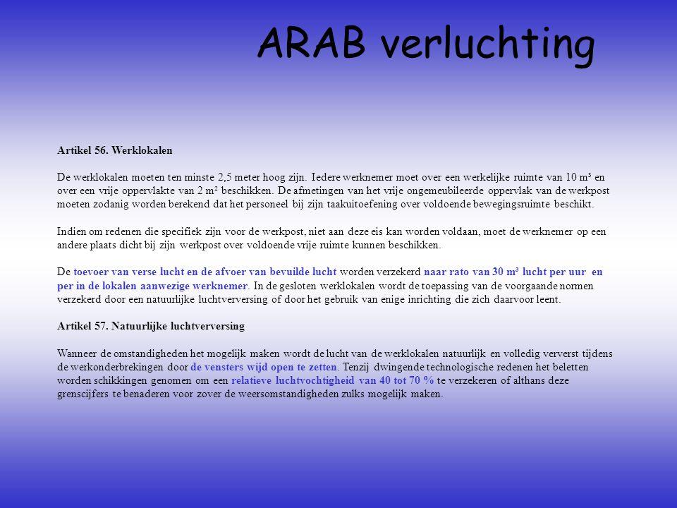 ARAB verluchting Artikel 56. Werklokalen De werklokalen moeten ten minste 2,5 meter hoog zijn. Iedere werknemer moet over een werkelijke ruimte van 10