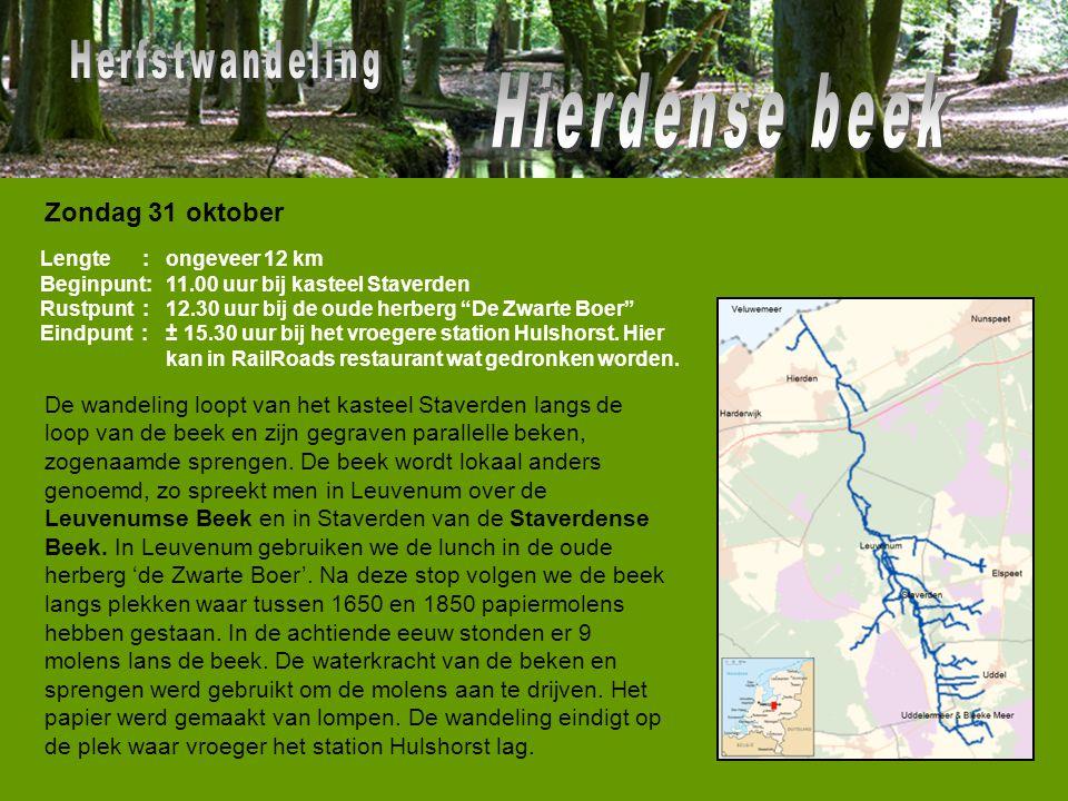 """Lengte : Beginpunt: Rustpunt : Eindpunt : ongeveer 12 km 11.00 uur bij kasteel Staverden 12.30 uur bij de oude herberg """"De Zwarte Boer"""" ± 15.30 uur bi"""