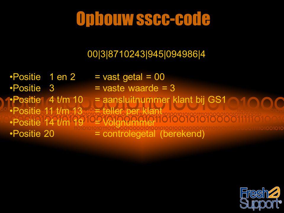 Opbouw sscc-code 00|3|8710243|945|094986|4 •Positie 1 en 2 = vast getal = 00 •Positie 3 = vaste waarde = 3 •Positie 4 t/m 10 = aansluitnummer klant bi
