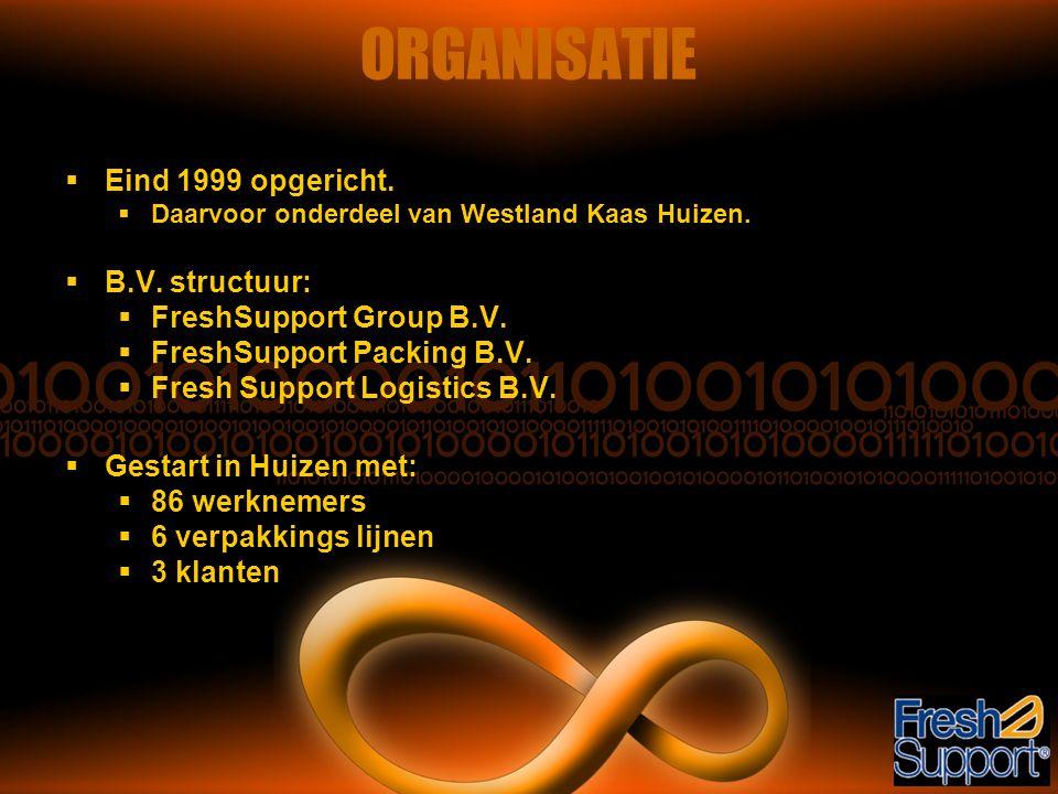 ORGANISATIE  Eind 1999 opgericht.  Daarvoor onderdeel van Westland Kaas Huizen.  B.V. structuur:  FreshSupport Group B.V.  FreshSupport Packing B