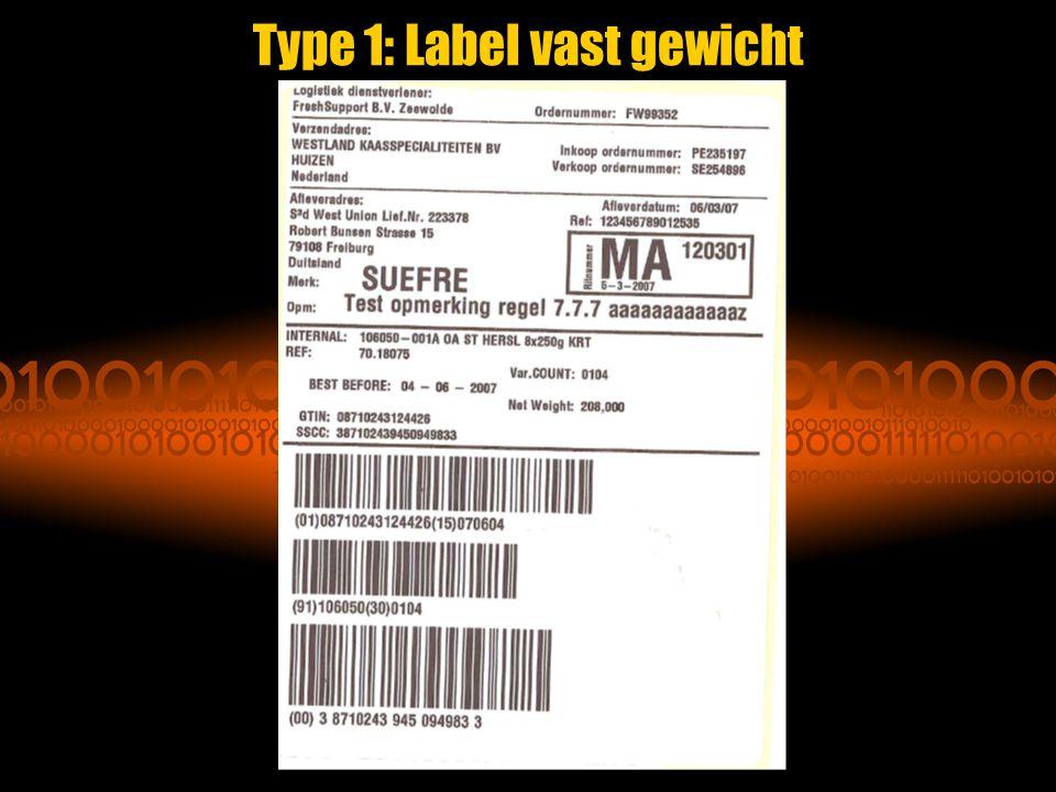 Type 1: Label vast gewicht