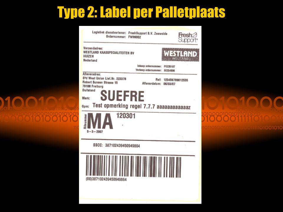Type 2: Label per Palletplaats