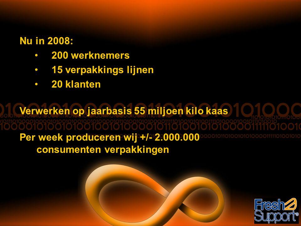Nu in 2008: •200 werknemers •15 verpakkings lijnen •20 klanten Verwerken op jaarbasis 55 miljoen kilo kaas Per week produceren wij +/- 2.000.000 consu