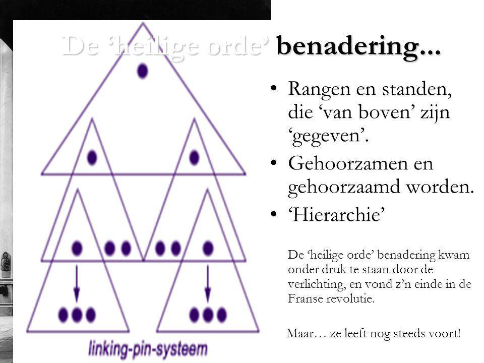 De 'heilige orde' benadering...•Rangen en standen, die 'van boven' zijn 'gegeven'.