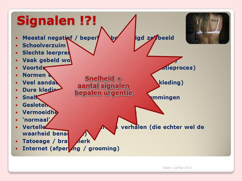 Signalen !?!  Meestal negatief / beperkt / beschadigd zelfbeeld  Schoolverzuim  Slechte leerprestaties  Vaak gebeld worden via mobiele telefoon(co