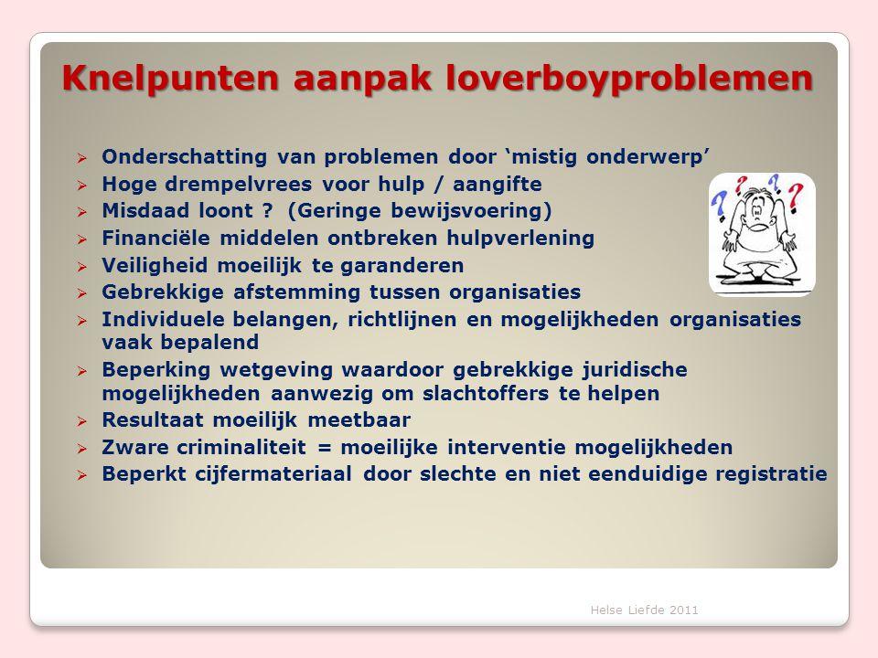 Knelpunten aanpak loverboyproblemen  Onderschatting van problemen door 'mistig onderwerp'  Hoge drempelvrees voor hulp / aangifte  Misdaad loont ?