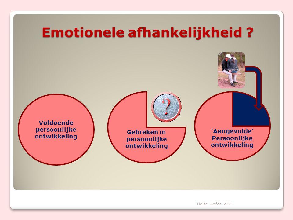 Emotionele afhankelijkheid ? Voldoende persoonlijke ontwikkeling 'Aangevulde' Persoonlijke ontwikkeling Gebreken in persoonlijke ontwikkeling Helse Li