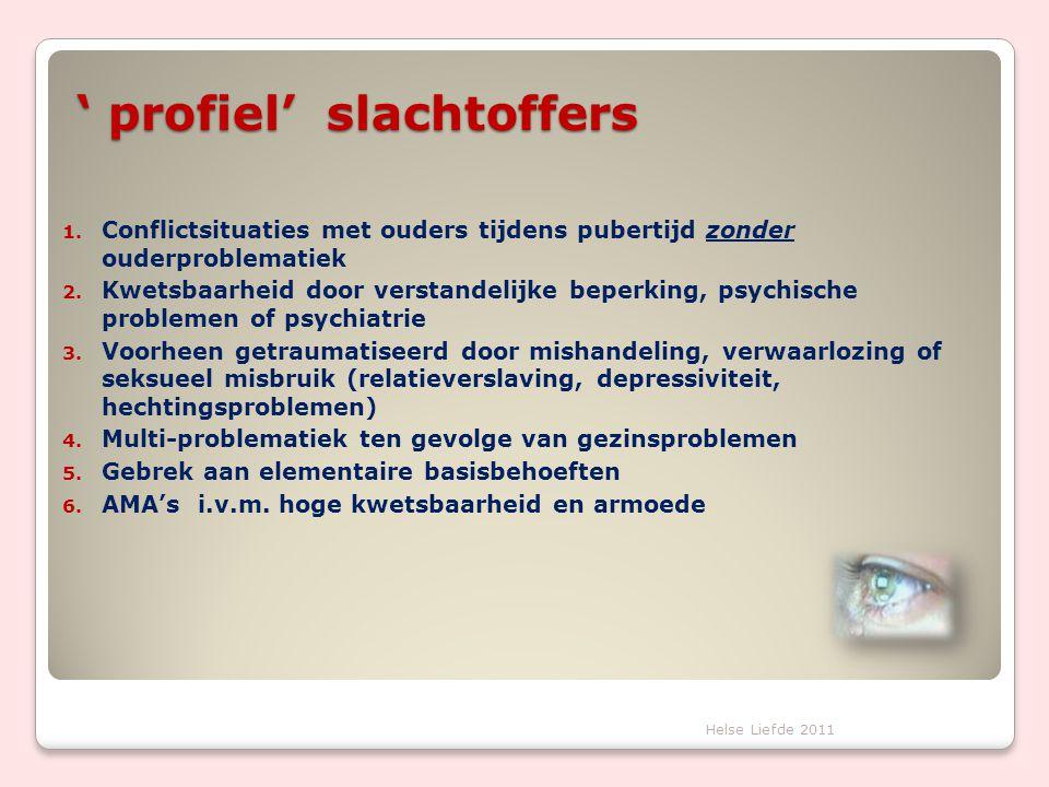 ' profiel' slachtoffers 1. Conflictsituaties met ouders tijdens pubertijd zonder ouderproblematiek 2. Kwetsbaarheid door verstandelijke beperking, psy