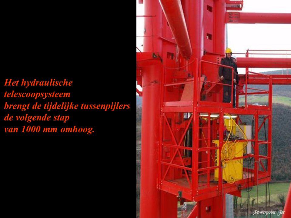 Het hydraulische telescoopsysteem brengt de tijdelijke tussenpijlers de volgende stap van 1000 mm omhoog.