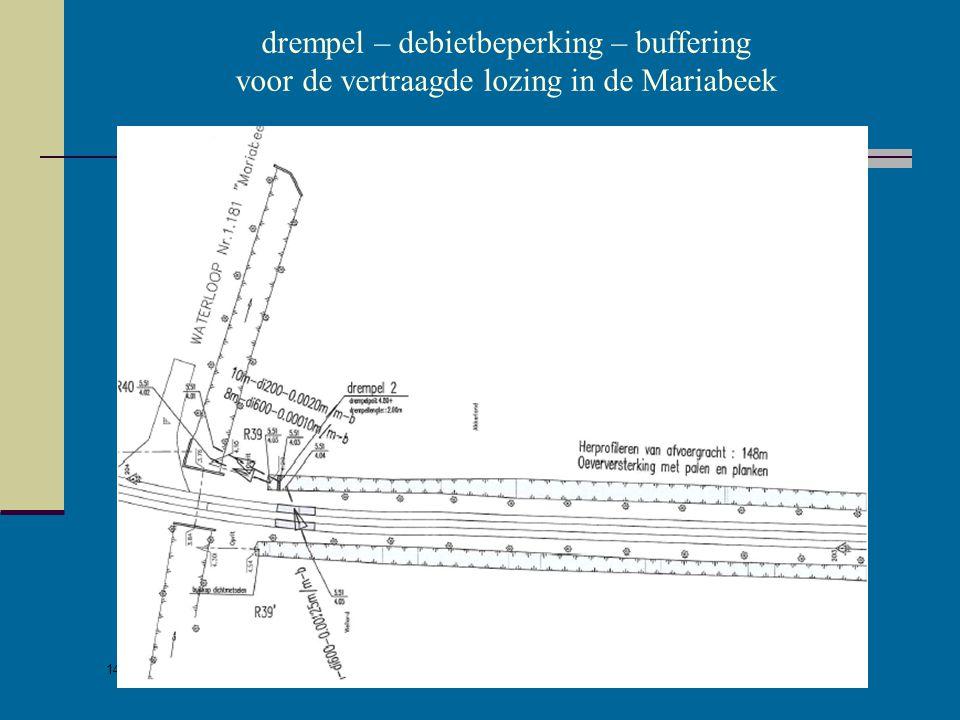 14/05/2007 Dirk Van den Hauwe - wateradvies in praktijk drempel – debietbeperking - buffering voor de vertraagde lozing in de Wandammebeek