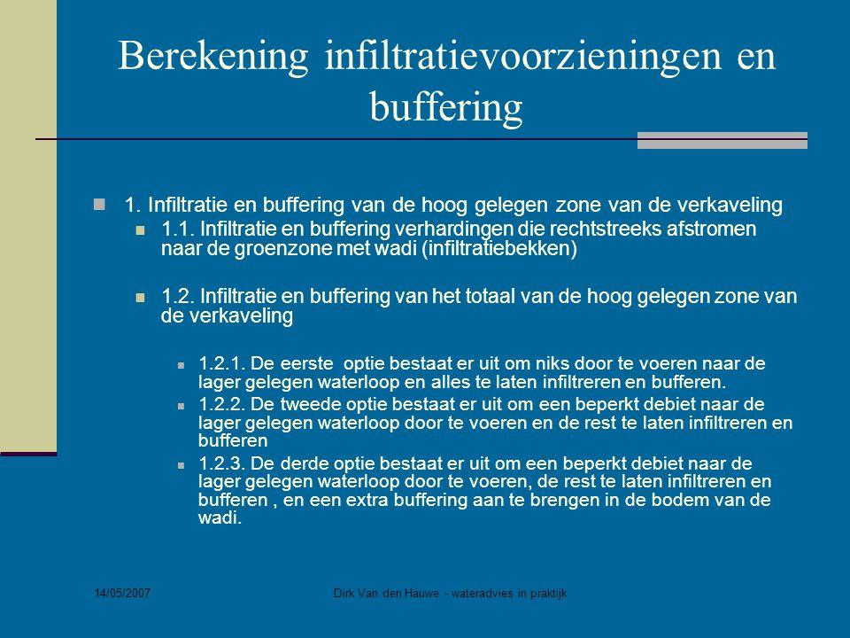14/05/2007 Dirk Van den Hauwe - wateradvies in praktijk Berekening infiltratievoorzieningen en buffering  1. Infiltratie en buffering van de hoog gel