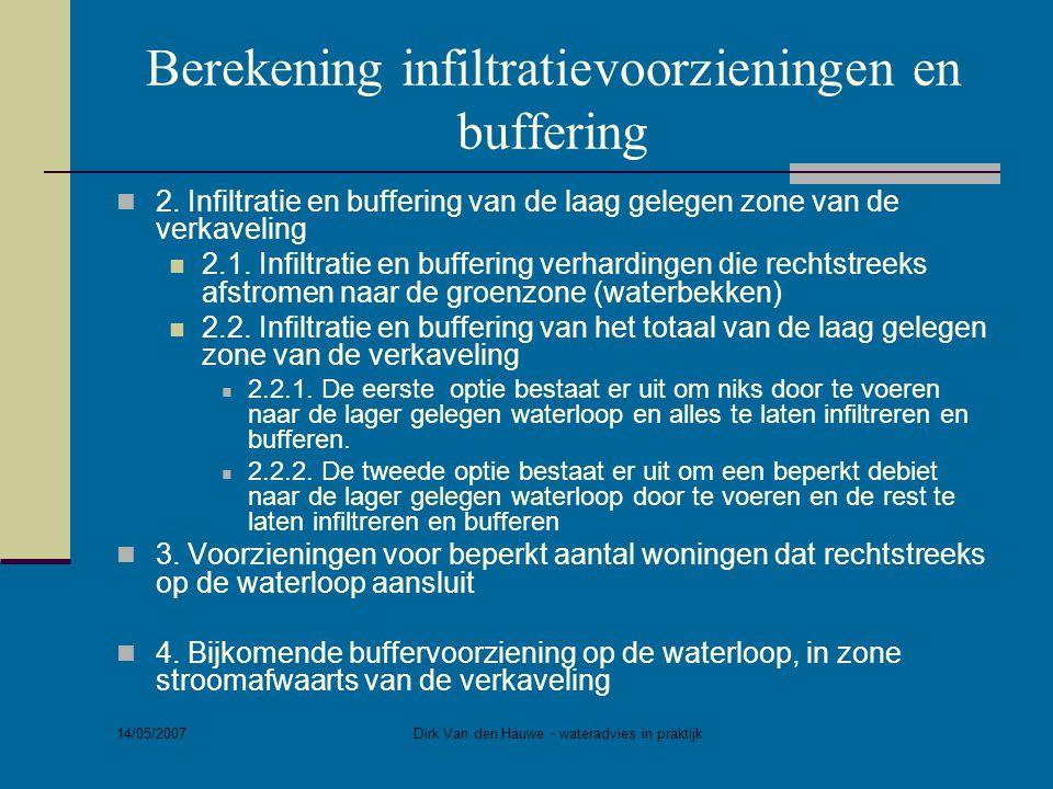 14/05/2007 Dirk Van den Hauwe - wateradvies in praktijk Berekening infiltratievoorzieningen en buffering  2. Infiltratie en buffering van de laag gel
