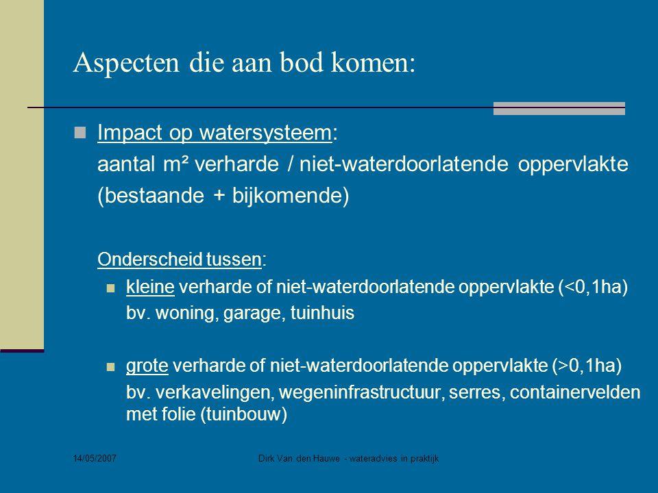 14/05/2007 Dirk Van den Hauwe - wateradvies in praktijk Aspecten die aan bod komen:  Impact op watersysteem bij kleine verharde of niet waterdoorlatende oppervlakte (<0,1ha) bv.