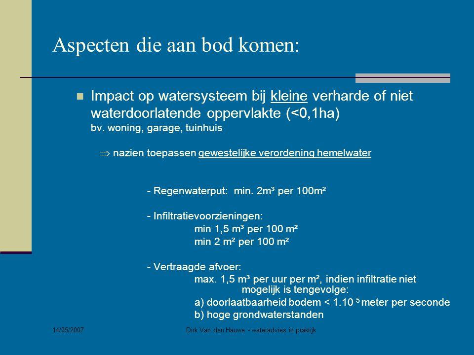 14/05/2007 Dirk Van den Hauwe - wateradvies in praktijk Aspecten die aan bod komen:  Impact op watersysteem bij grote verharde of niet waterdoorlatende oppervlakte (>0,1ha) bv.