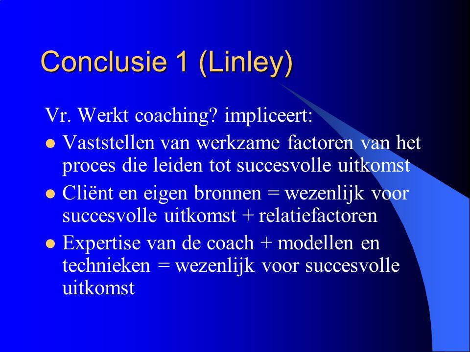 Conclusie 1 (Linley) Vr. Werkt coaching? impliceert:  Vaststellen van werkzame factoren van het proces die leiden tot succesvolle uitkomst  Cliënt e