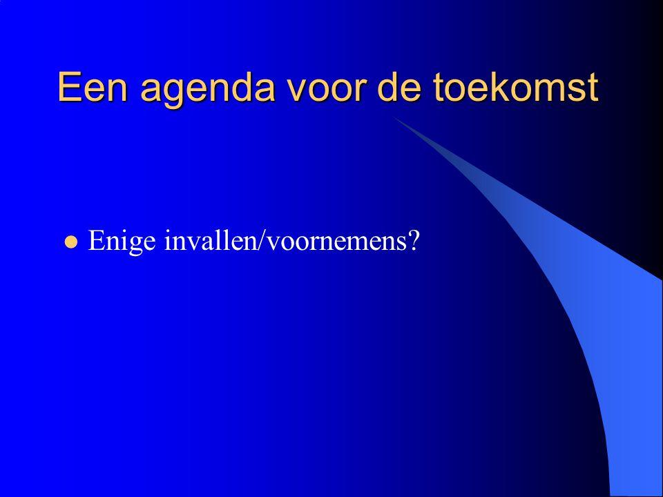 Een agenda voor de toekomst  Enige invallen/voornemens?