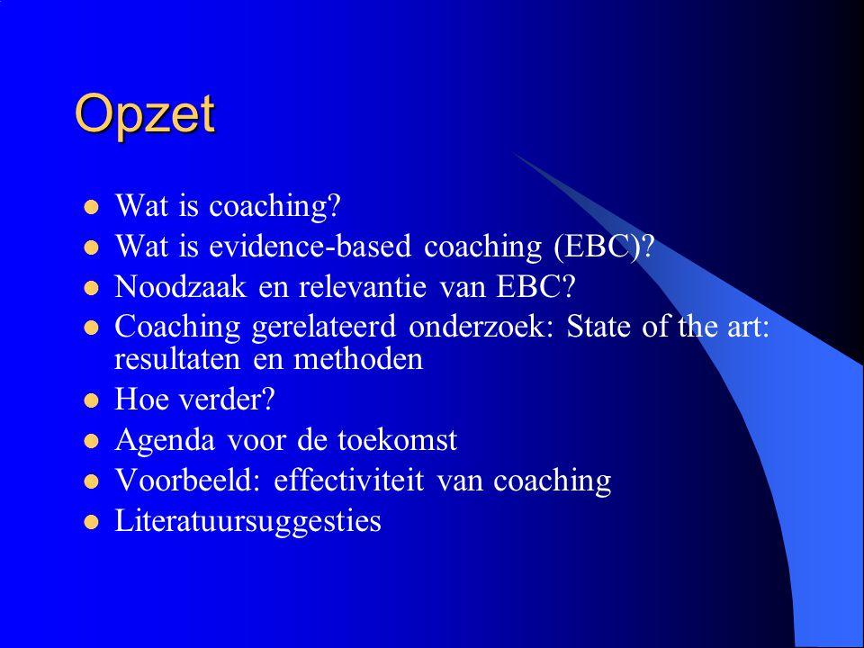 Opzet  Wat is coaching?  Wat is evidence-based coaching (EBC)?  Noodzaak en relevantie van EBC?  Coaching gerelateerd onderzoek: State of the art: