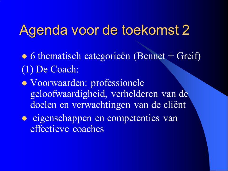 Agenda voor de toekomst 2  6 thematisch categorieën (Bennet + Greif) (1) De Coach:  Voorwaarden: professionele geloofwaardigheid, verhelderen van de
