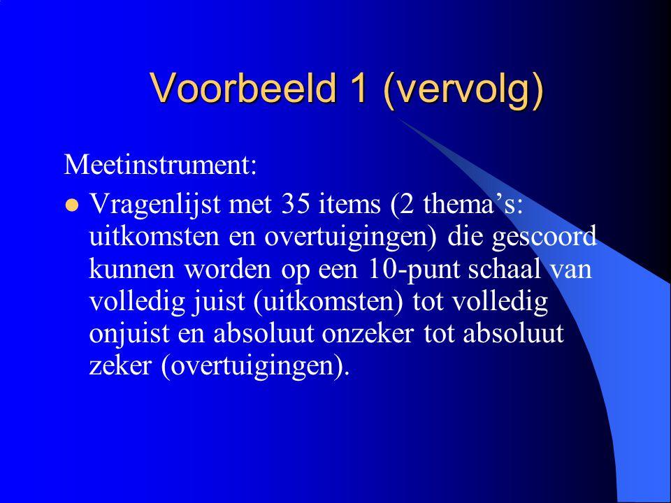 Voorbeeld 1 (vervolg) Meetinstrument:  Vragenlijst met 35 items (2 thema's: uitkomsten en overtuigingen) die gescoord kunnen worden op een 10-punt sc