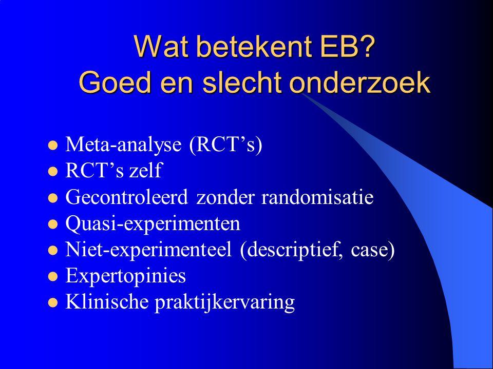 Wat betekent EB? Goed en slecht onderzoek  Meta-analyse (RCT's)  RCT's zelf  Gecontroleerd zonder randomisatie  Quasi-experimenten  Niet-experime