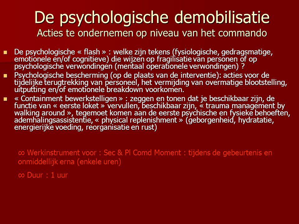 De psychologische demobilisatie Acties te ondernemen op niveau van het commando  De psychologische « flash » : welke zijn tekens (fysiologische, gedr