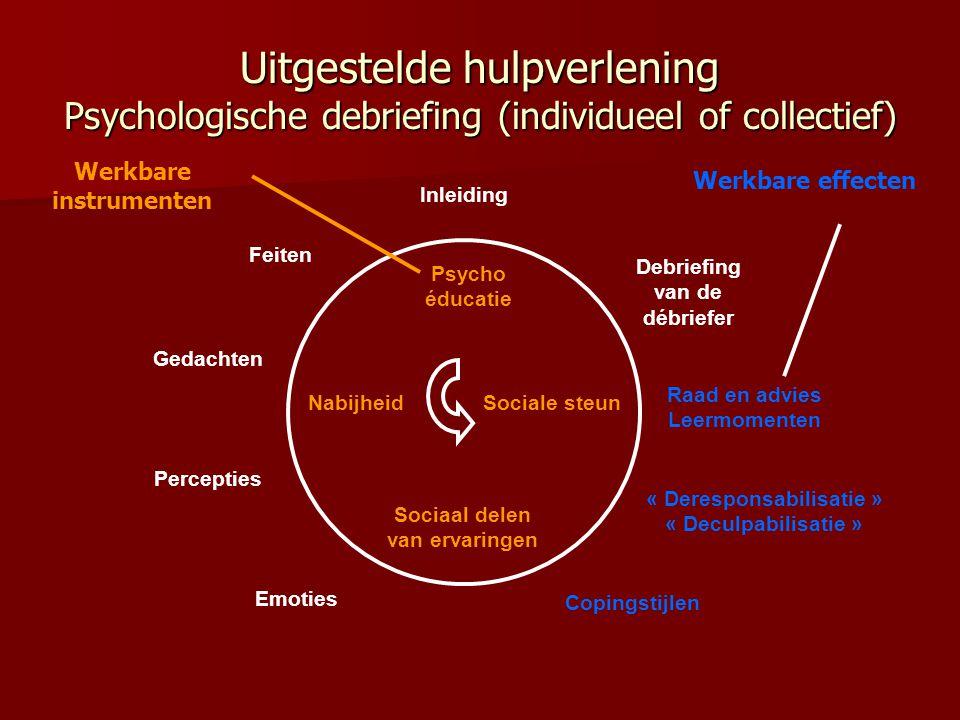 Uitgestelde hulpverlening Psychologische debriefing (individueel of collectief) Nabijheid Sociaal delen van ervaringen Sociale steun Psycho éducatie I