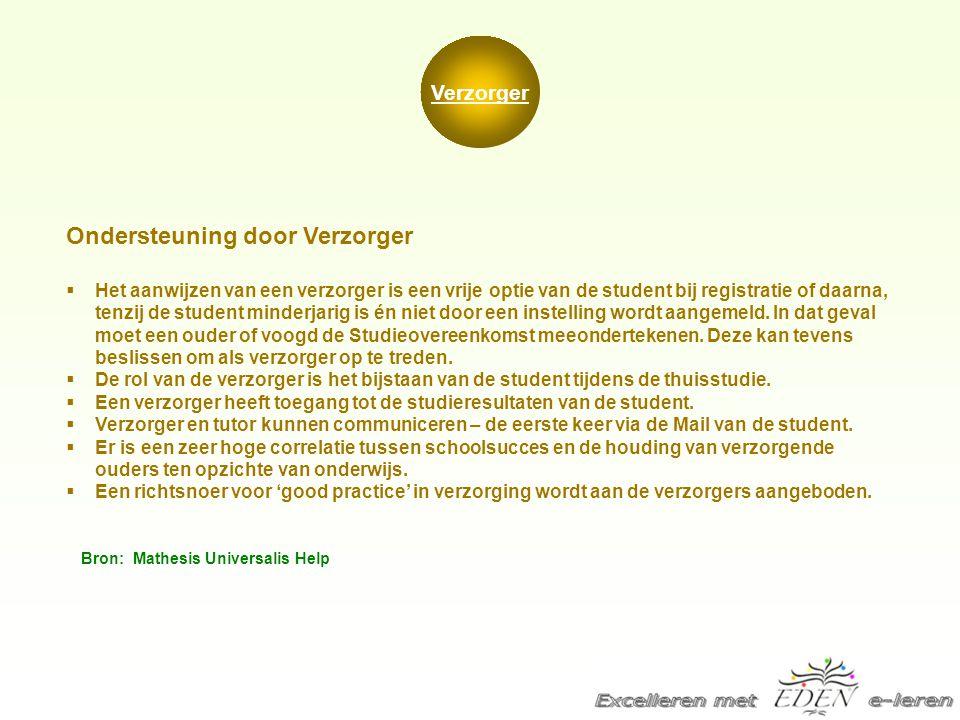Verzorger Ondersteuning door Verzorger  Het aanwijzen van een verzorger is een vrije optie van de student bij registratie of daarna, tenzij de studen