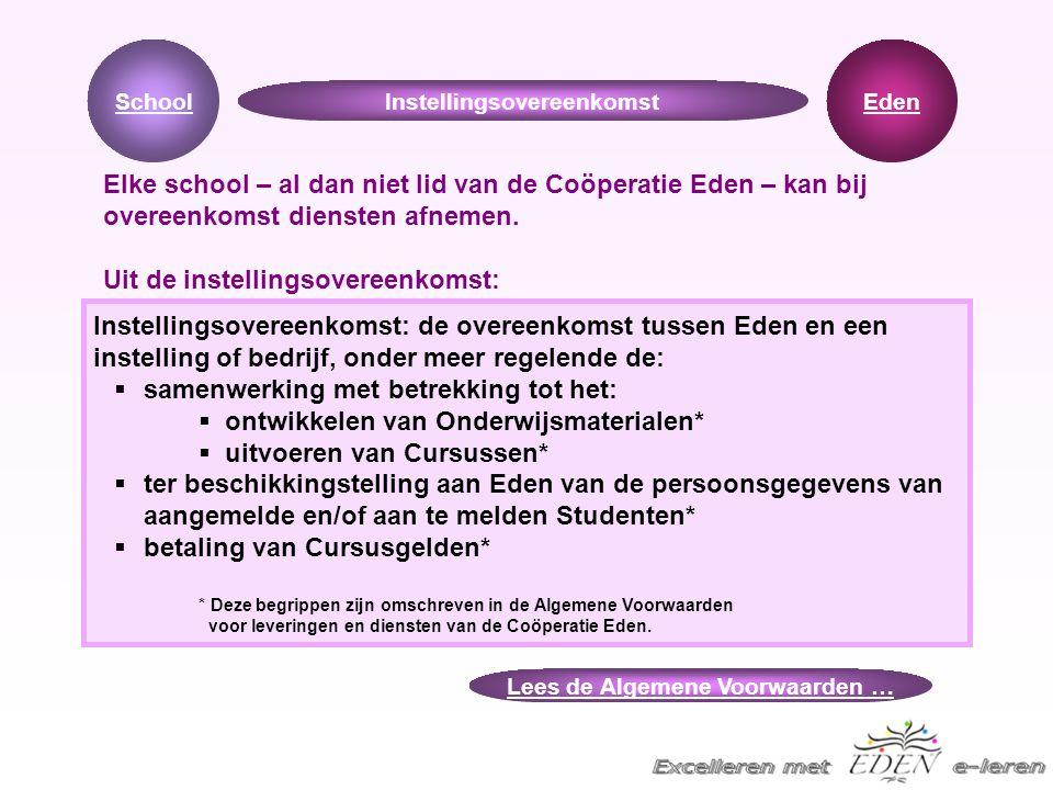 Instellingsovereenkomst: de overeenkomst tussen Eden en een instelling of bedrijf, onder meer regelende de:  samenwerking met betrekking tot het:  o