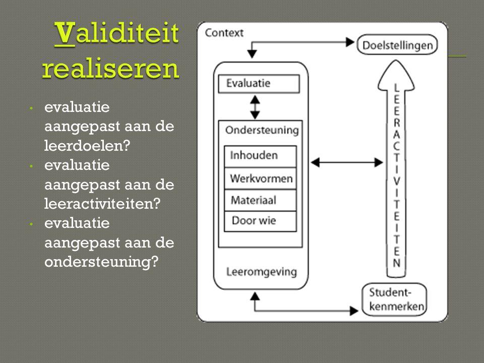 • evaluatie aangepast aan de leerdoelen? • evaluatie aangepast aan de leeractiviteiten? • evaluatie aangepast aan de ondersteuning?