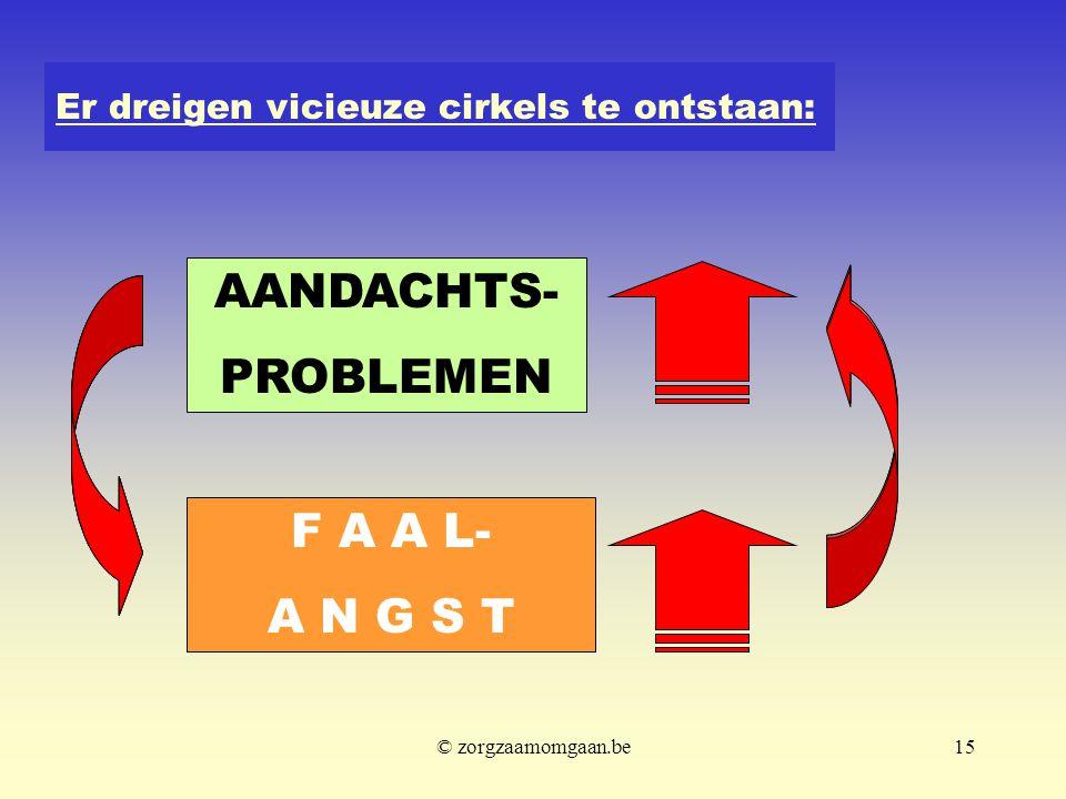 Er dreigen vicieuze cirkels te ontstaan: AANDACHTS- PROBLEMEN F A A L- A N G S T © zorgzaamomgaan.be15