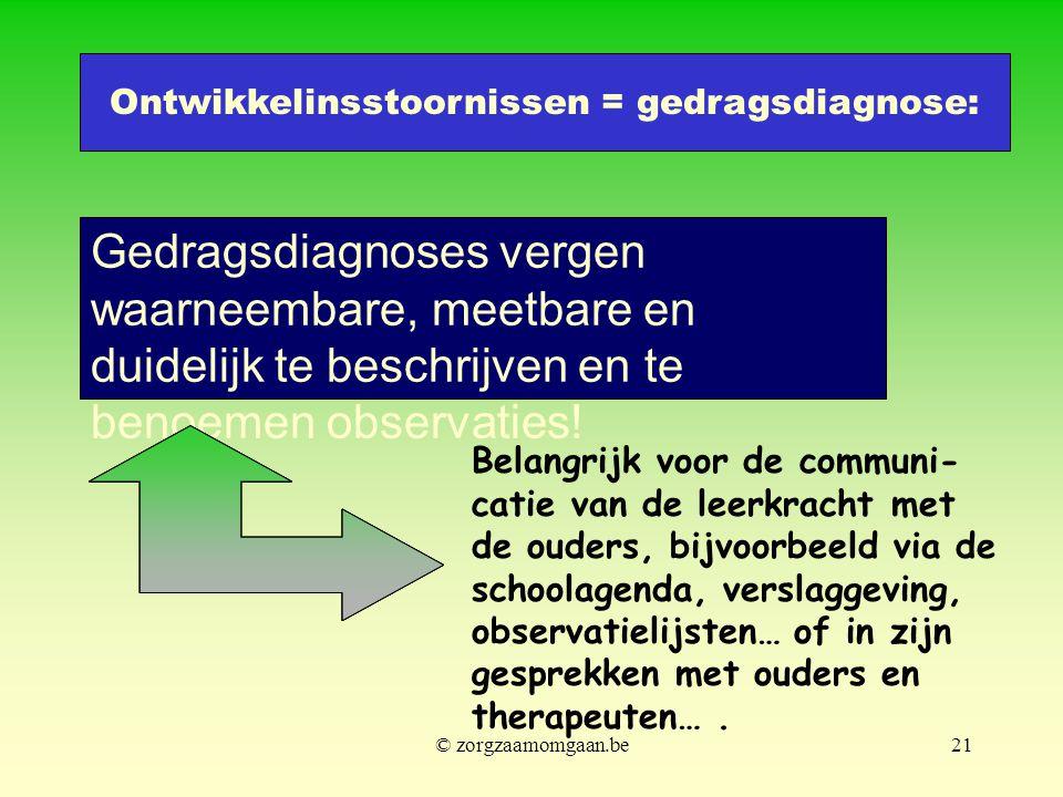 Gedragsdiagnoses vergen waarneembare, meetbare en duidelijk te beschrijven en te benoemen observaties! Belangrijk voor de communi- catie van de leerkr