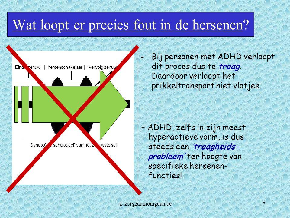 Wat loopt er precies fout in de hersenen? -Bij personen met ADHD verloopt dit proces dus te traag. Daardoor verloopt het prikkeltransport niet vlotjes