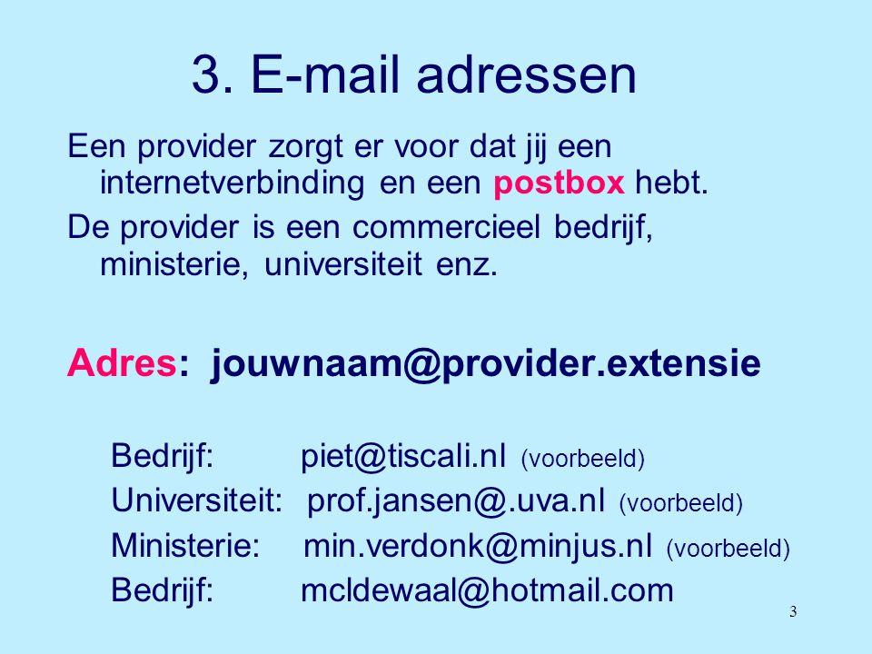 3 3. E-mail adressen Een provider zorgt er voor dat jij een internetverbinding en een postbox hebt. De provider is een commercieel bedrijf, ministerie