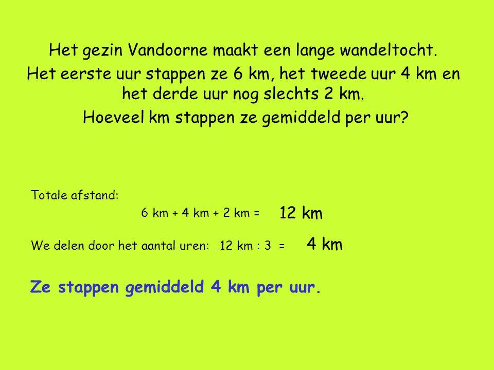 Het gezin Vandoorne maakt een lange wandeltocht. Het eerste uur stappen ze 6 km, het tweede uur 4 km en het derde uur nog slechts 2 km. Hoeveel km sta