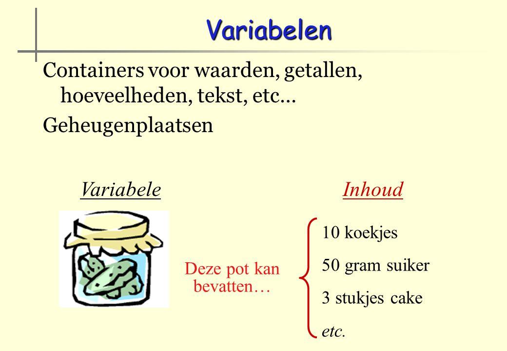 Variabelen - Inhoud Toekenning Naam := waarde Naam := naam A := 2 (populaties) breedte := 34 (milimeters) B := breedte naam := 'een tekst' 'B' WORDT 34 'groet' WORDT 'Goede morgen samen …'