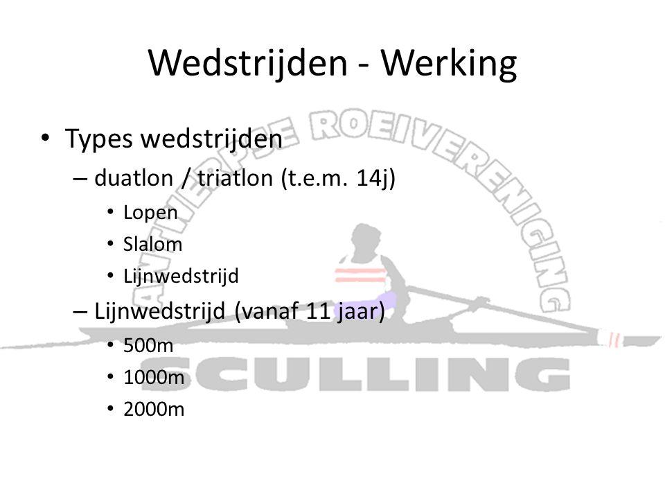 Wedstrijden - Werking • Types wedstrijden – duatlon / triatlon (t.e.m. 14j) • Lopen • Slalom • Lijnwedstrijd – Lijnwedstrijd (vanaf 11 jaar) • 500m •