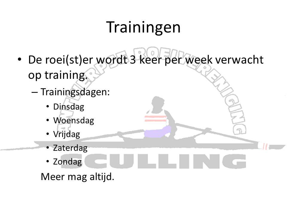 Trainingen • De roei(st)er wordt 3 keer per week verwacht op training. – Trainingsdagen: • Dinsdag • Woensdag • Vrijdag • Zaterdag • Zondag Meer mag a