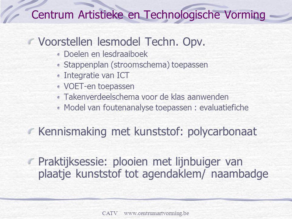 CATV www.centrumartvorming.be Centrum Artistieke en Technologische Vorming Voorstellen lesmodel Techn. Opv. Doelen en lesdraaiboek Stappenplan (stroom