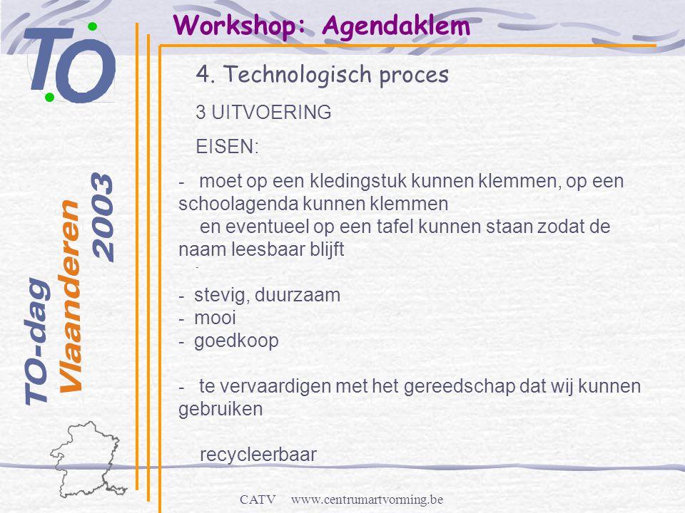CATV www.centrumartvorming.be Workshop: Agendaklem 4. Technologisch proces - - moet op een kledingstuk kunnen klemmen, op een schoolagenda kunnen klem