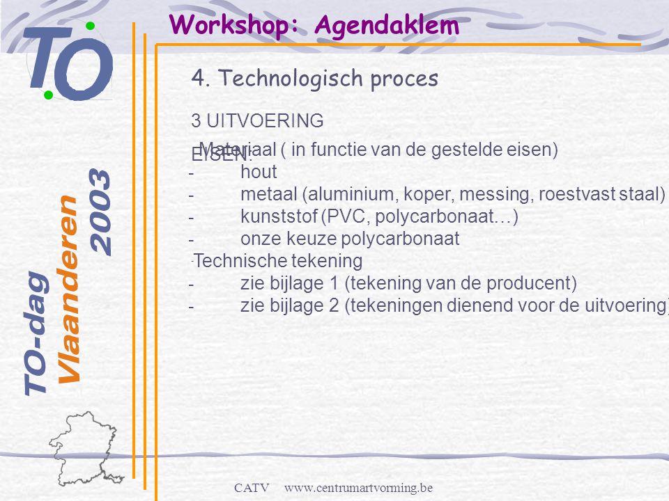 CATV www.centrumartvorming.be Workshop: Agendaklem 4. Technologisch proces - 3 UITVOERING EISEN: Materiaal ( in functie van de gestelde eisen) - hout