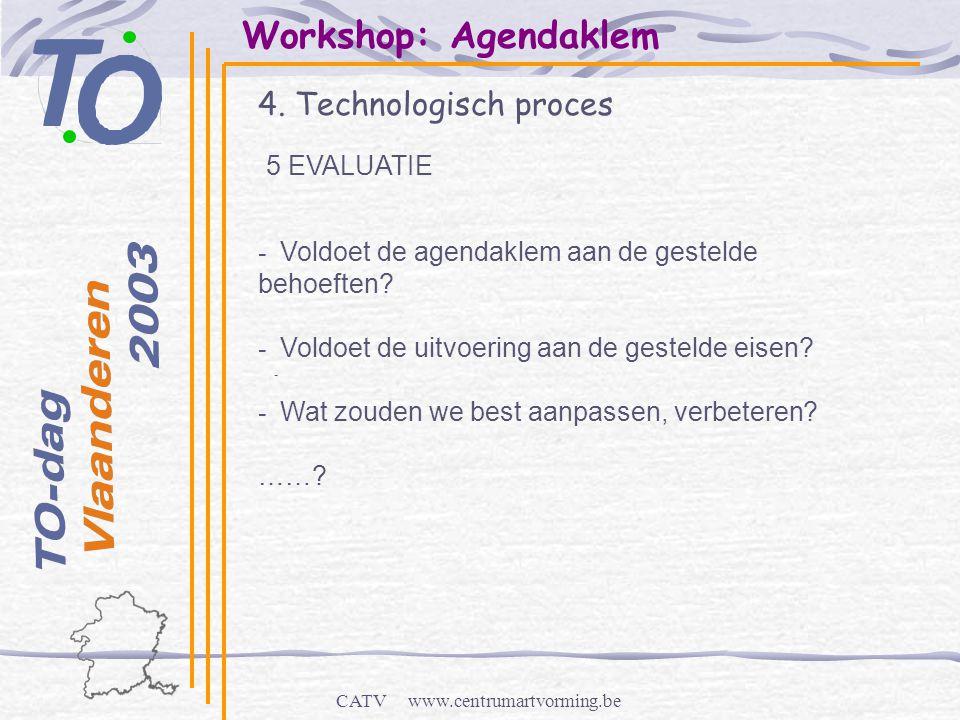 CATV www.centrumartvorming.be Workshop: Agendaklem 4. Technologisch proces - 5 EVALUATIE - Voldoet de agendaklem aan de gestelde behoeften? - Voldoet