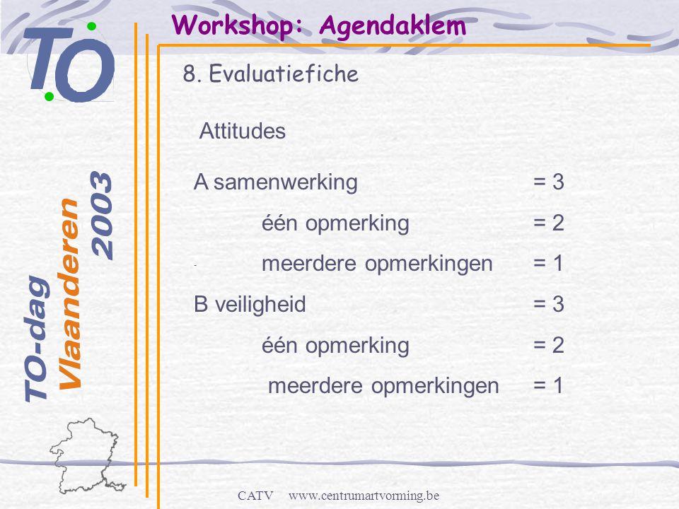 CATV www.centrumartvorming.be Workshop: Agendaklem 8. Evaluatiefiche - Attitudes A samenwerking= 3 één opmerking= 2 meerdere opmerkingen= 1 B veilighe