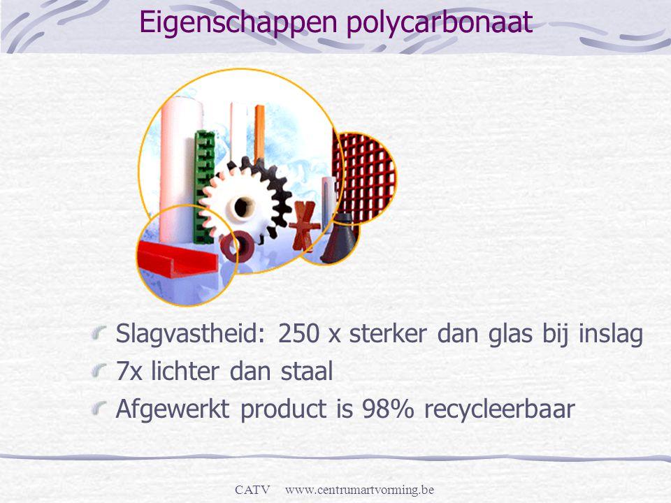 CATV www.centrumartvorming.be Eigenschappen polycarbonaat Slagvastheid: 250 x sterker dan glas bij inslag 7x lichter dan staal Afgewerkt product is 98