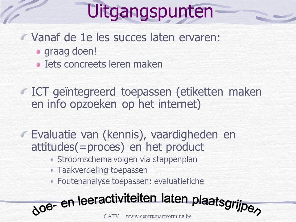 CATV www.centrumartvorming.be Uitgangspunten Vanaf de 1e les succes laten ervaren: graag doen! Iets concreets leren maken ICT geïntegreerd toepassen (