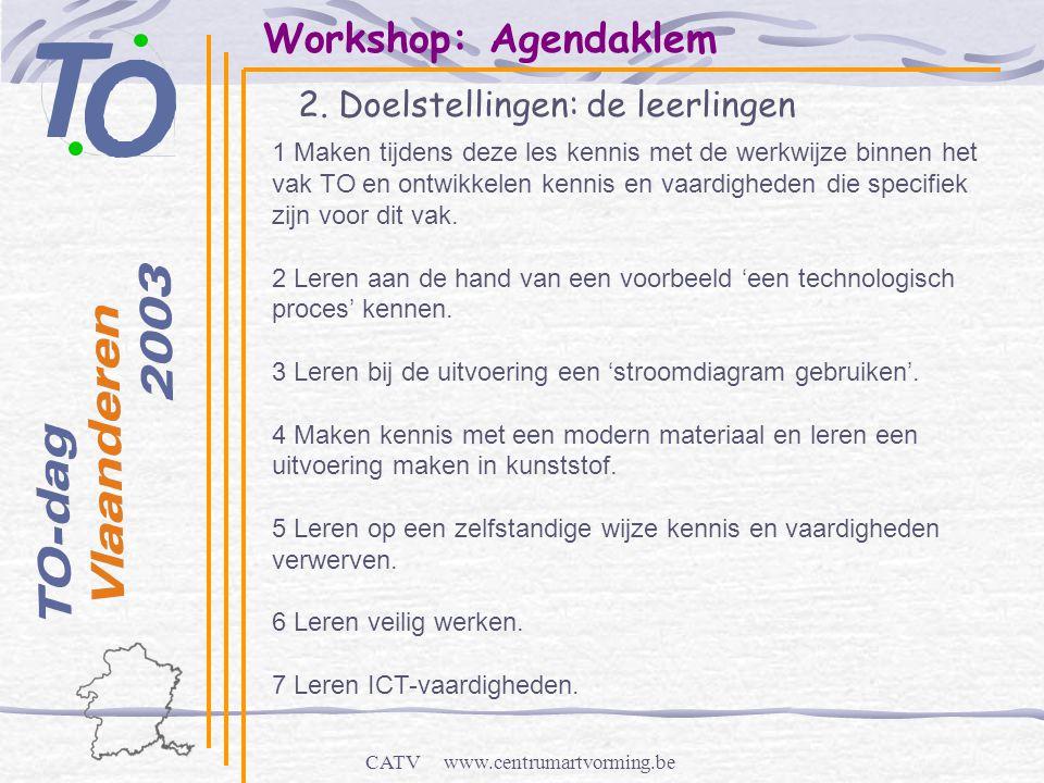 CATV www.centrumartvorming.be Workshop: Agendaklem 2. Doelstellingen: de leerlingen 1 Maken tijdens deze les kennis met de werkwijze binnen het vak TO