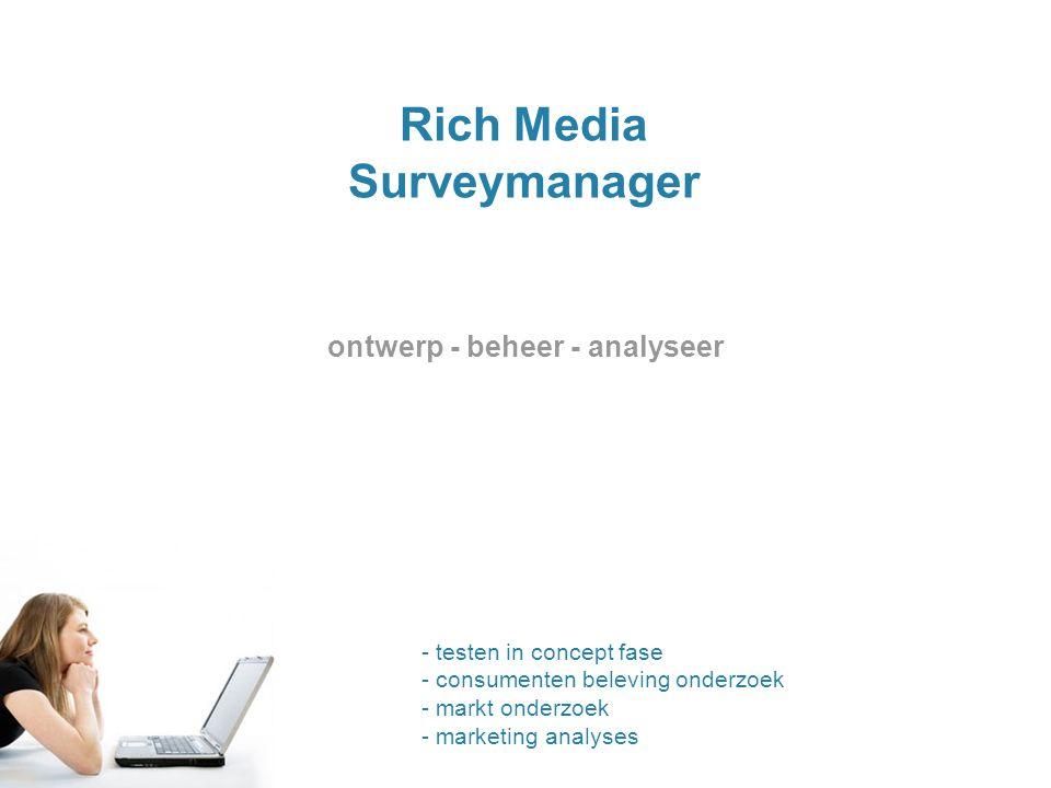 Rich Media Surveymanager ontwerp - beheer - analyseer - testen in concept fase - consumenten beleving onderzoek - markt onderzoek - marketing analyses