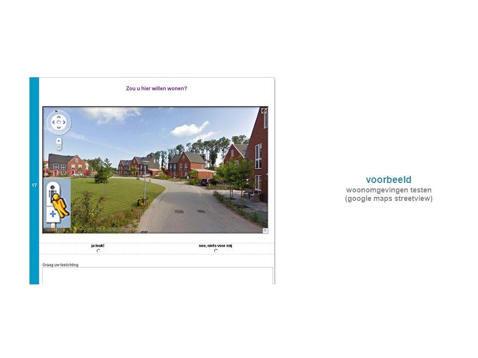 voorbeeld woonomgevingen testen (google maps streetview)