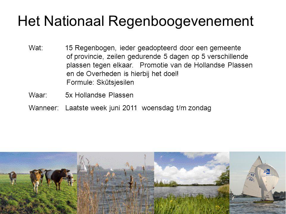 Het Nationaal Regenboogevenement Wat: 15 Regenbogen, ieder geadopteerd door een gemeente of provincie, zeilen gedurende 5 dagen op 5 verschillende plassen tegen elkaar.